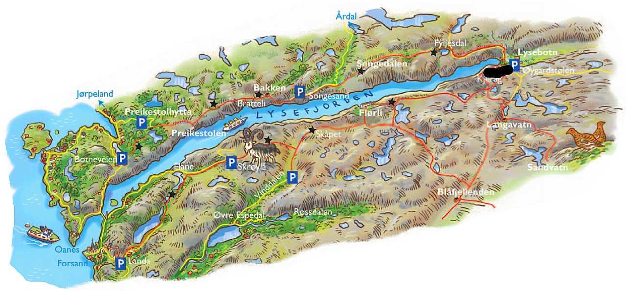 kjerag kart Lysefjorden (5) Kjerag | Sandalsand kjerag kart