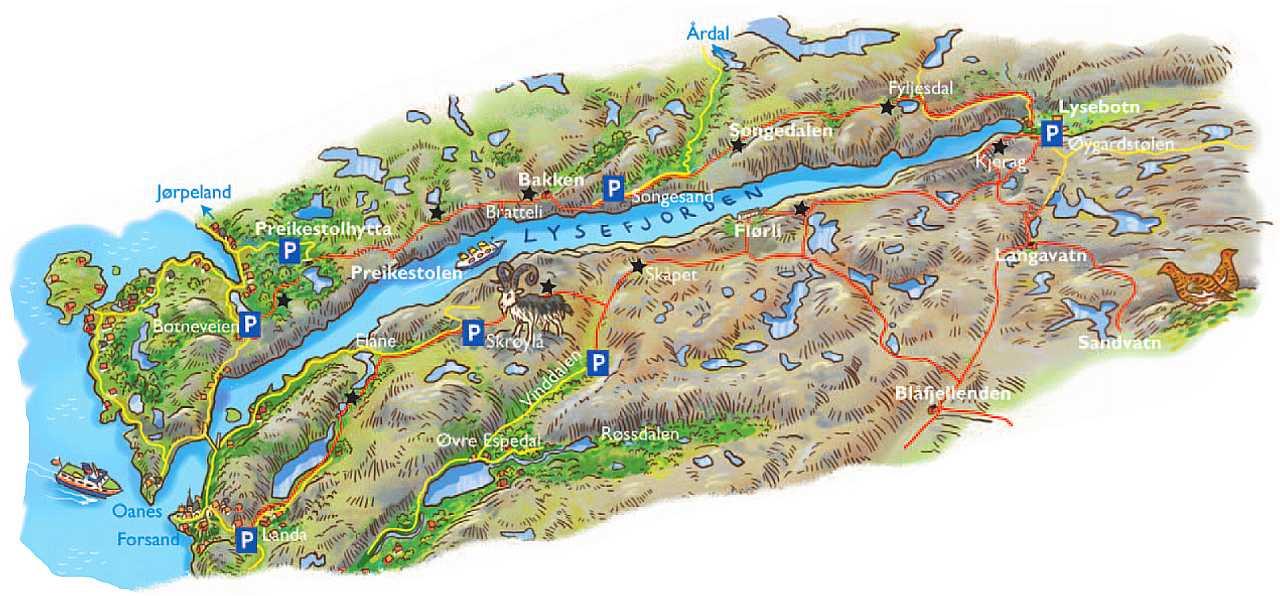 lysefjorden kart Introduksjon til Lysefjorden | Sandalsand lysefjorden kart
