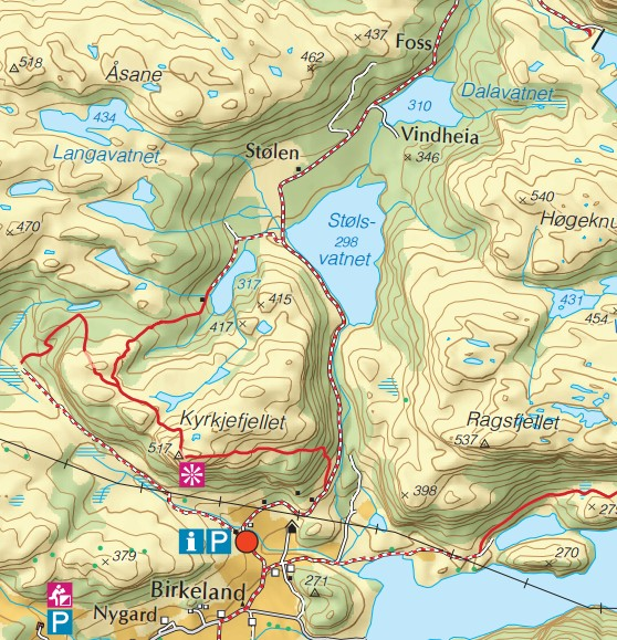 Kart - Kyrkjefjellet i Bjerkreim