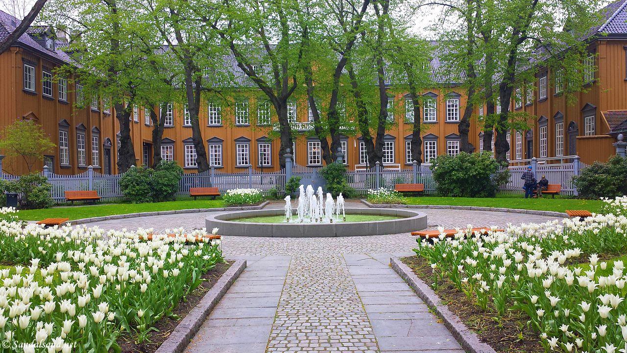 Sør-Trøndelag - Trondheim - Stiftsgården sett fra parken