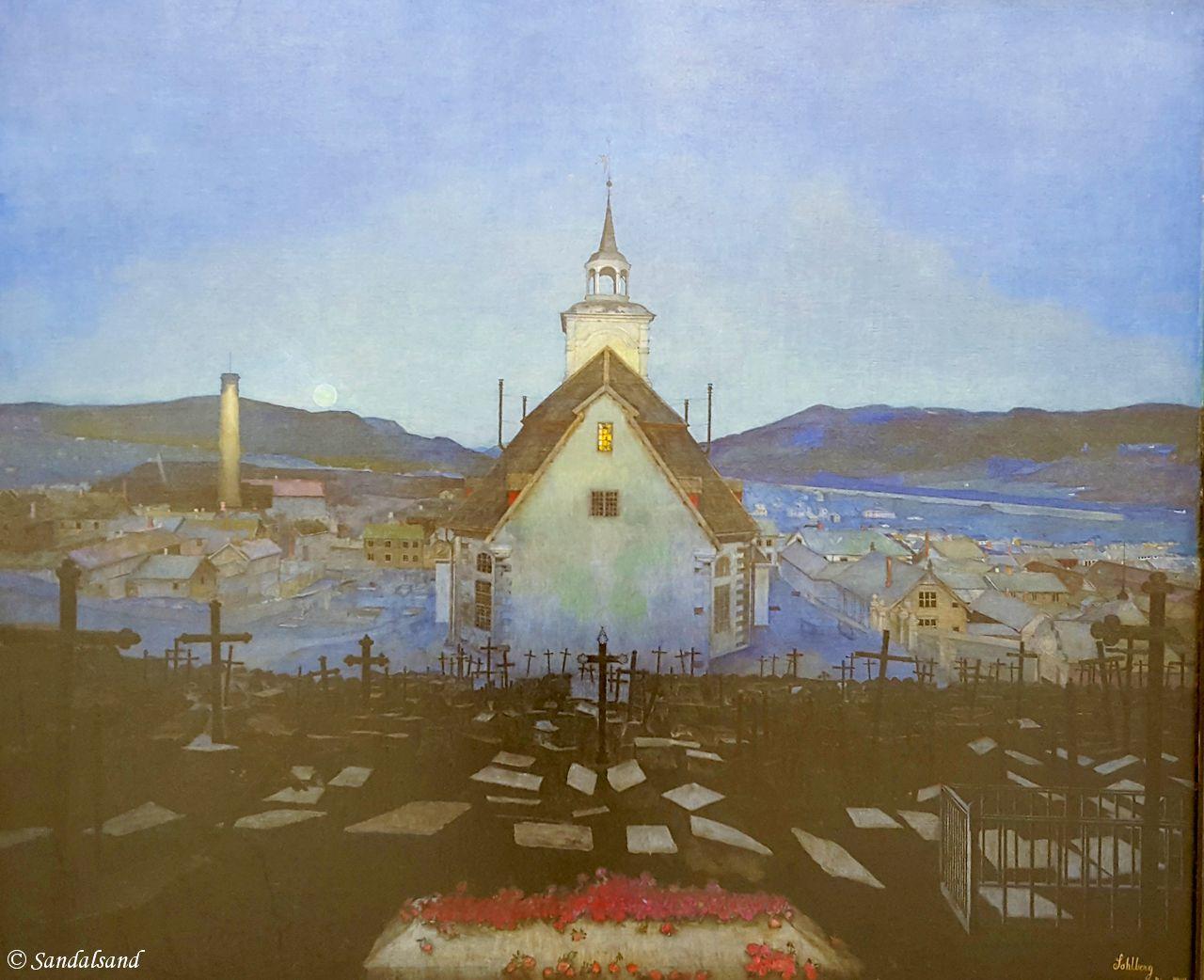 Sør-Trøndelag - Trondheim - Trondheim kunstmuseum - Natt, Røros kirke (Harald Sohlberg, 1904)